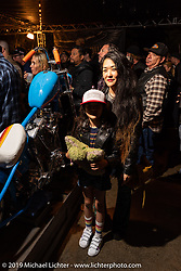 Suzy Pilaczynski with her 1977 custom Harley-Davidson People's Champ Shovelhead at the Born Free pre-party and People's Champ finals at Cooks Corner before the big show. Trabuco Canyon, CA, USA. Friday, June 21, 2019. Photography ©2019 Michael Lichter.