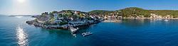 Luftaufnahme von Fischerdorf Stomorska, Insel Solta, Dalmatien, Kroatien, Adria, Mittelmeer / Aerial View of fishing village Stomorska,  Island Solta, Dalmatia, Croatia, Adriatic Sea, Mediterranean Sea