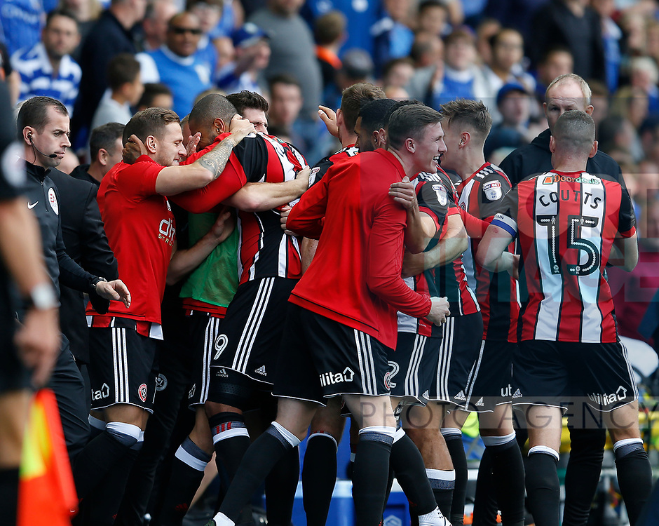 during theThe Sheffield Utd bench celebrate Leon Clarke's first goal during the Championship match at the Hillsborough Stadium, Sheffield. Picture date 24th September 2017. Picture credit should read: Simon Bellis/Sportimage