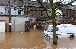 Flooding Carlisle Northern England January 2005 following River Eden bursting its banks