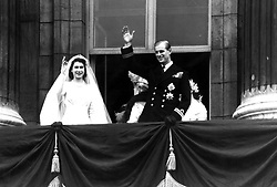 File photo dated 20/11/1947 of Queen Elizabeth II and The Duke of Edinburgh on their wedding day, as they are celebrating their 69th wedding anniversary today.