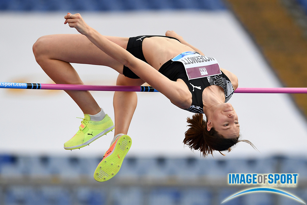 Nicola McDermott (AUS) places third in the women's high jump at 6-4¾ (1.95m) during the Mennea Golden Gala at Stadio Olimpico, Thursday, Sept. 17, 2020, in Rome. (Jiro Mochizuki/Image of Sport)