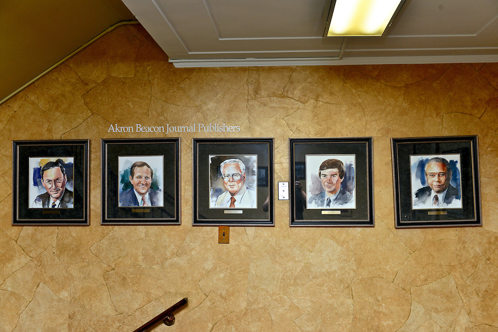Framed gallery of Akron Beacon Journal Publishers.