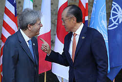 27.05.2017, Taormina, ITA, 43. G7 Gipfel in Taormina, im Bild Italiens Premierminister Paolo Gentiloni, Jim Yong Kim - Präsident der Weltbank // Italy's Prime Minister Paolo Gentiloni, Jim Yong Kim - President of the World Bank during the 43rd G7 summit in Taormina, Italy on 2017/05/27. EXPA Pictures © 2017, PhotoCredit: EXPA/ SM<br /> <br /> *****ATTENTION - OUT of GER*****
