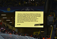 11 04 2017 Football UEFA Champions League Season 2016 2017 Quarter-finals Borussia Dortmund AS Monaco Scoreboard in Signal Iduna Park with the Note to Incident with the Borussia Mannschaftsbus  <br /> Norway only