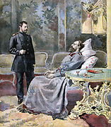 A sick and weakening Tsar Alexander III of Russia talking with his sone the future Nicholas II.  From 'Le Pe;tit Journal', Paris, 5 November 1894.