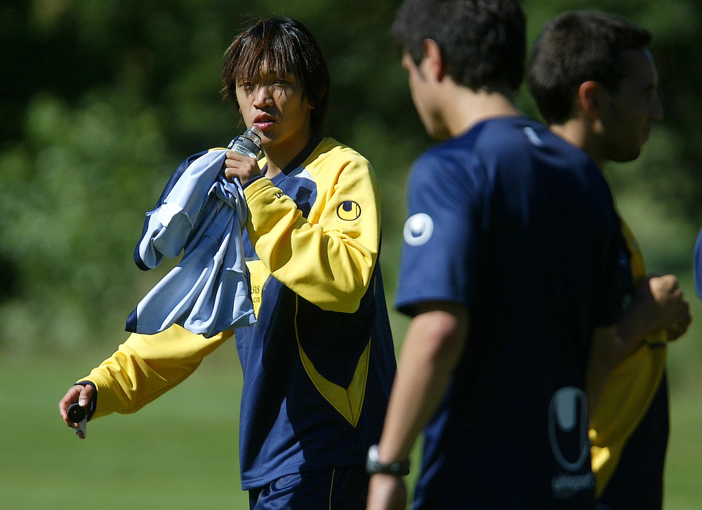 July 18th. 2009. Shunsuke Nakamura, new player of the R.C.D. Espanyol of Barcelona, training in the preseason of his team in Peralada.