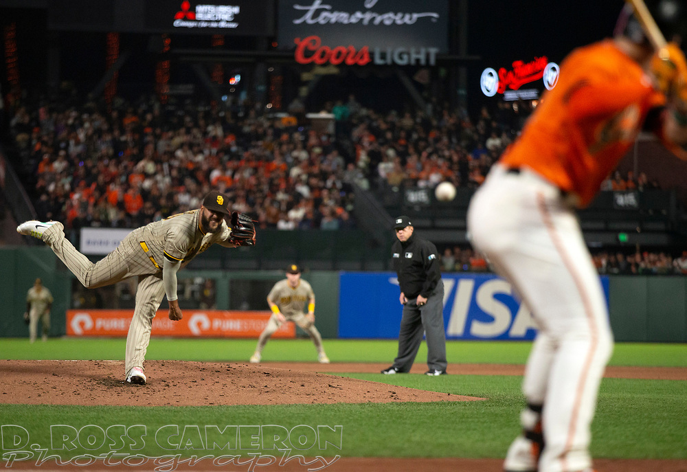 Oct 1, 2021; San Francisco, California, USA; San Diego Padres starting pitcher Pedro Avila (60) delivers a pitch against San Francisco Giants third baseman Evan Longoria (10) during the first inning at Oracle Park. Mandatory Credit: D. Ross Cameron-USA TODAY Sports