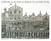 Celebrations in Breda to mark the Raid on the Medway, sometimes called the Battle of the Medway, Raid on Chatham or the Battle of Chatham, was a successful Dutch attack on the largest English naval ships, laid up in the dockyards of their main naval base Chatham, that took place in June 1667 during the Second Anglo-Dutch War. The Dutch, under nominal command of Lieutenant-Admiral Michiel de Ruyter, bombarded and then captured the town of Sheerness, sailed up the River Thames to Gravesend, then up the River Medway to Chatham