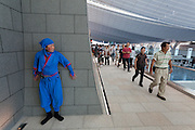 A man dressed as a ninja welcomes visitors to Haneda International Airport's Edo festival, Tokyo, Japan. Sunday August 31st 2014