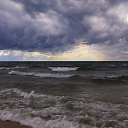 """""""As the World Turns""""<br /> <br /> Stormy skies and crashing waves on the shores of Lake Michigan!!<br /> <br /> The Great Lakes by Rachel Cohen"""