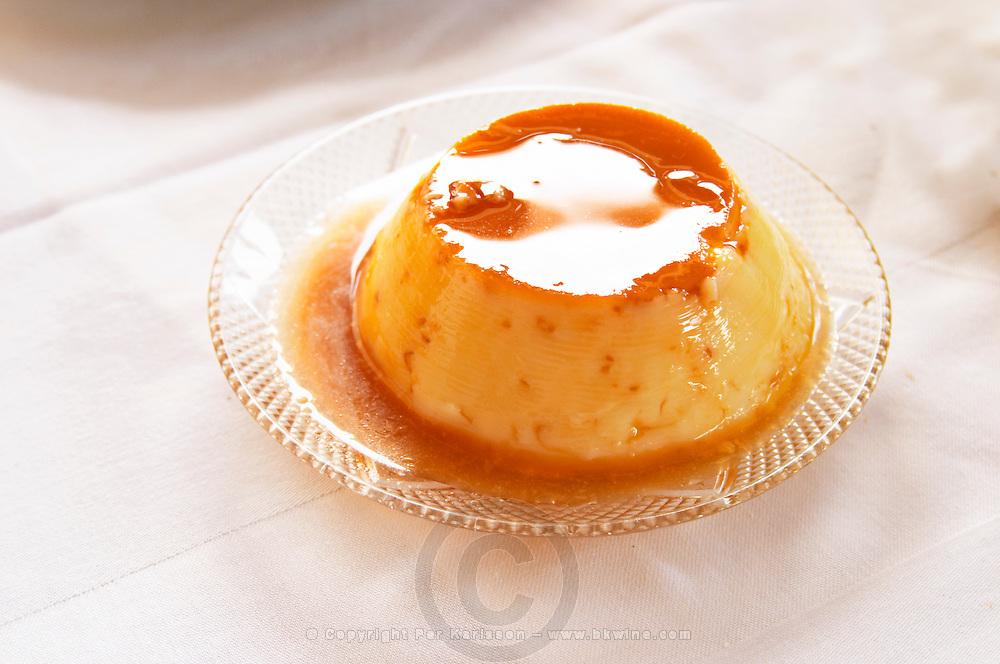 Creme caramel type of pudding with caramel sauce. Berat lower town. Albania, Balkan, Europe.