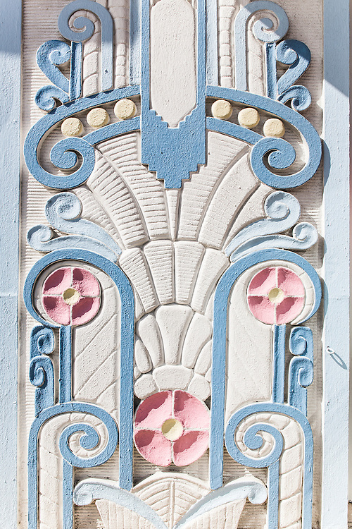 A Tropical Deco bas relief on Miami Beach's  Congress Hotel designed by architect Henry Hohauser in 1936