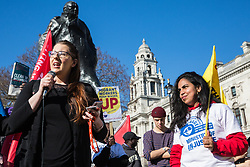 London, UK. 26th February, 2019. Laura Pidcock, Shadow Business Minister, addresses mainly migrant striking outsourced workers belonging to the Independent Workers of Great Britain (IWGB), United Voices of the World (UVW) and Public and Commercial Services Union (PCS) trade unions working at the University of London (IWGB), Ministry of Justice (UVW) and Department for Business Energy and Industrial Strategy (PCS), together with representatives of the National Union of Rail, Maritime and Transport Workers (RMT) Regional Council, taking part in a 'Clean Up Outsourcing' demonstration to call for an end to the practice of outsourcing. The demonstration was organised to coincide with a significant High Court hearing of an application by the IWGB for judicial review of a decision by the Central Arbitration Committee (CAC) not to hear their application for trade union recognition for the purposes of collective bargaining with the University of London.