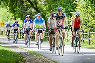 Riders cruise down a shaded trail on the Pennsylvania Environment Ride to benefit the Pennsylvania Environmental Council.