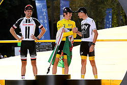 July 29, 2018 - Paris, FRANCE - Dutch Tom Dumoulin of Team Sunweb, British Geraint Thomas of Team Sky wearing the yellow jersey of overall leader and British Chris Froome of Team Sky on the podium of the last stage of the 105th edition of the Tour de France cycling race, 116km from Houilles to Paris, France, Sunday 29 July 2018. This year's Tour de France takes place from July 7th to July 29th. BELGA PHOTO DAVID STOCKMAN (Credit Image: © David Stockman/Belga via ZUMA Press)