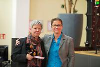 DEU, Deutschland, Germany, Berlin, 10.12.2016: Die neue Linken-Landesvorsitzende Katina Schubert und ihre Stellvertreterin Sandra Brunner beim Landesparteitag von Die Linke im WISTA-Veranstaltungszentrum Adlershof.
