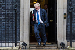 © Licensed to London News Pictures. 12/03/2018. London, UK. Foreign Secretary Boris Johnson leaves 10 Downing Street after a National Security Council meeting to discuss the Salisbury spy incident. Photo credit: Rob Pinney/LNP