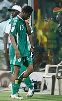 Photo: Steve Bond/Richard Lane Photography.<br />Ghana v Nigeria. Africa Cup of Nations. 03/02/2008. John Obi Mikel in defeat