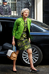 © Licensed to London News Pictures. 12/05/2015. LONDON, UK. Home Secretary Theresa May attending to the first Conservative cabinet meeting after the 2015 general election in Downing Street on Tuesday, 12 May 2015. Photo credit: Tolga Akmen/LNP