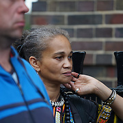 Tottenham Police Station, London, UK. 4th August 2017. Speaker Isis Amlak of the Global Afrikan Congress UK attend Justice for Mark Duggan protest march for the 6th Anniversary Vigil.