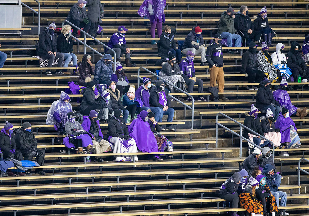 November 14, 2020:  Northwestern fans in the stands during NCAA football game action between the Northwestern Wildcats and the Purdue Boilermakers at Ross-Ade Stadium in West Lafayette, Indiana. Northwestern defeated Purdue 27-20.  John Mersits/CSM.
