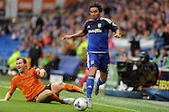 Cardiff City's Fabio Da Silva (3) goes past Wolves' Kevin McDonald. Skybet football league championship match, Cardiff city v Wolverhampton Wanderers at the Cardiff city stadium in Cardiff, South Wales on Saturday 22nd August 2015.<br /> pic by Carl Robertson, Andrew Orchard sports photography.