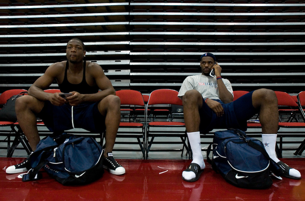 usabsktball  (7/23/06)  Dwayne Wade (cq), left, and Lebron James (cq), right, following practice for the USA Senior National Team's training camp at Cox Pavilion in Las Vegas, Sunday, July 23, 2006.  Photo by David Calvert/The Arizona Republic<br />