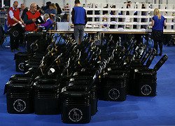 Empty ballot boxes at the Eikon Exhibition Centre in Lisburn as counting is under way for the General Election.