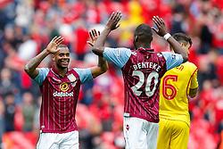 Leandro Bacuna and Christian Benteke celebrate after Aston Villa win the match 2-1 to reach the 2015 FA Cup Final - Photo mandatory by-line: Rogan Thomson/JMP - 07966 386802 - 19/04/2015 - SPORT - FOOTBALL - London, England - Wembley Stadium - Aston Villa v Liverpool - FA Cup Semi Final.