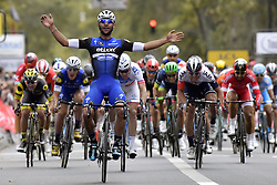 October 9, 2016 - Tours, FRANCE - TOURS, FRANCE - OCTOBER 9 : GAVIRIA RENDON Fernando (COL) Rider of ETIXX - QUICK STEP celebrates the victory before DEMARE Arnaud (FRA) Rider of FDJ and VANGENECHTEN Jonas (BEL) Rider of IAM CYCLING during  the 110th edition of the Paris-Tours cycling race with start in Dreux and finish in Tours on October 09, 2016 in Tours, France, 9/10/2016 (Credit Image: © Panoramic via ZUMA Press)