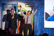 MC Ollie Turner  with John Kennedy Stealth Manufacturing (overall winner)   at the JFC Innovation awards sponsored by Teagasc, DARD Northern Ireland and the Irish Farmers Journal at the Claregalway Hotel. Photo:Andrew Downes
