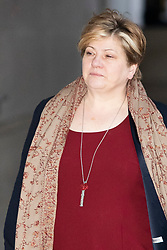 © Licensed to London News Pictures. 12/01/2020. London, UK. Labour Party leadership contender and Shadow Foreign Secretary Emily Thornberry arrives at the BBC. Later she will appear on the Andrew Marr Show. Photo credit: George Cracknell Wright/LNP