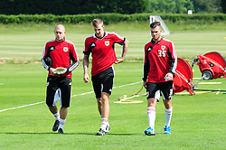 Bristol City's Frank Fielding, Aden Flint and Mitch Brundle - Photo mandatory by-line: Dougie Allward/JMP - Tel: Mobile: 07966 386802 28/06/2013 - SPORT - FOOTBALL - Bristol -  Bristol City - Pre Season Training - Npower League One
