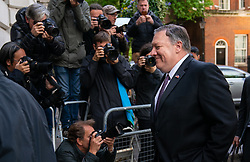 © Licensed to London News Pictures. 08/05/2019. London, UK. US Secretary of State Mike Pompeo leaves 10 Downing Street after talks with British Prime Minister Theresa May (not pictured). Photo credit : Tom Nicholson/LNP