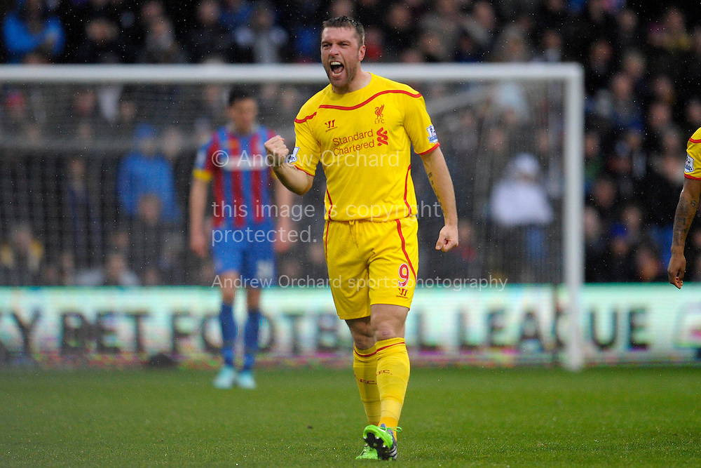 Rickie Lambert of Liverpool celebrating after scoring his teams first goal of the game to make it 1-0. Barclays Premier league match, Crystal Palace v Liverpool at Selhurst Park in London on Sunday 23rd November 2014.<br /> pic by John Patrick Fletcher, Andrew Orchard sports photography.