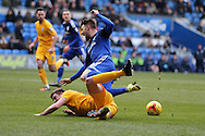 Anthony Pilkington of Cardiff city is fouled in the penalty area by Paul Huntington of Preston and the referee awards a penalty which Pilkington scores from. . Skybet football league championship match, Cardiff city v Preston NE at the Cardiff city stadium in Cardiff, South Wales on Saturday 27th Feb 2016.<br /> pic by  Andrew Orchard, Andrew Orchard sports photography.