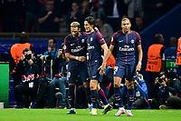 joie des joueurs du PSG apres le 3e but marque par Neymar Jr (PSG) / Kylian Mbappe (PSG) / CAVANI Edinson (PSG) <br /> FOOTBALL : PSG vs Bayern de Munich - Ligue des Champions - 27/09/2017<br /> Norway only