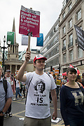 Peoples Assembly National Demonstration Against Theresa May and Austerity - Not One Day More - Tories Out, on Saturday July 1st in London, United Kingdom. Tens of thousands of people gathered to protest in a march through the capital protesting against the Conservative Party cuts. Following the recent General Election where the Labour Party gained seats, while the Conservative Party lost their majority, the mood in the country has been one where an anti-austerity movement is growing as people become tired with Tory rule.