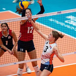 Caroline Crawford of USA, Hyke Lyklema of Netherlands in action during United States - Netherlands, FIVB U20 Women's World Championship on July 15, 2021 in Rotterdam