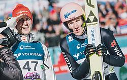 15.02.2020, Kulm, Bad Mitterndorf, AUT, FIS Ski Flug Weltcup, Kulm, Herren, im Bild v.l.: Stephan Leyhe (GER), Karl Geiger (GER) // f.l.: Stephan Leyhe of Germany Karl Geiger of Germany during his Jump for the men's FIS Ski Flying World Cup at the Kulm in Bad Mitterndorf, Austria on 2020/02/15. EXPA Pictures © 2020, PhotoCredit: EXPA/ JFK