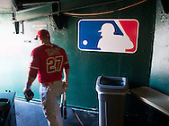 The Angels' Mike Trout heads to the field before the Halos game against the Athletics Sunday in Oakland, June 15, 2015.