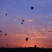 Hot air balloons silhouette in Goreme valley at sunrise, Cappadocia, Turkey