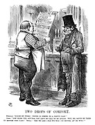 """Two Drops of Comfort. Publican. """"P-o-on my word! Things is coming to a pretty pass!"""" Cabby. """"Lor' bless yer, guv'nor, you ain't no call to be afraid. Why, Mr Bruce he tried to reform the cabs! Well! 'Ere we are!—Has we wos!—No better, an' no wus!!"""""""