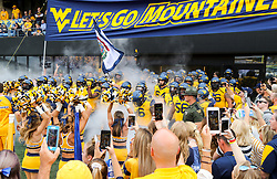 Sep 22, 2018; Morgantown, WV, USA; West Virginia Mountaineers prepare to run onto the field before their game. against the Kansas State Wildcats at Mountaineer Field at Milan Puskar Stadium. Mandatory Credit: Ben Queen-USA TODAY Sports
