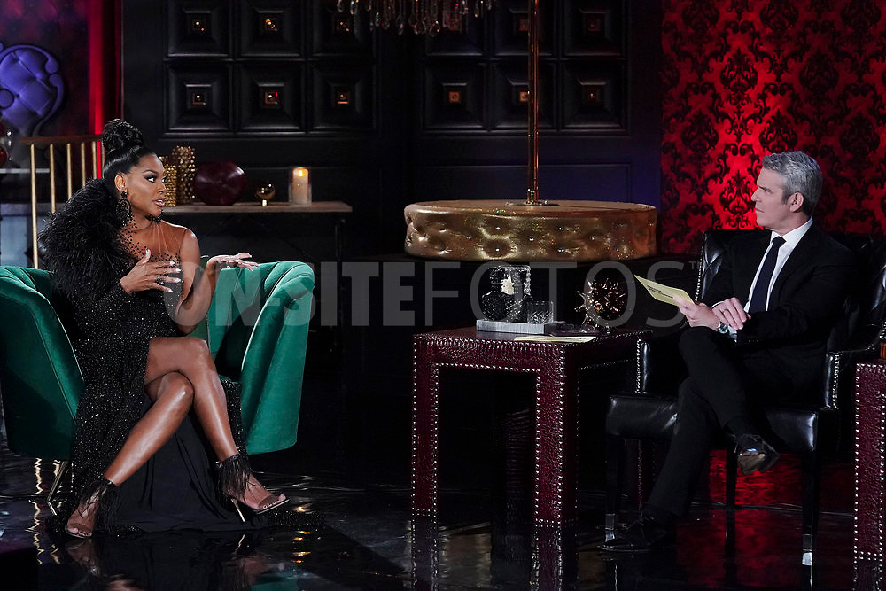 """THE REAL HOUSEWIVES OF ATLANTA -- """"Reunion"""" -- Pictured: (l-r) Kenya Moore, Andy Cohen -- (Photo by: Heidi Gutman/Bravo)"""