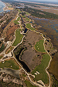 Aerial view of the Ocean Course golf club on Kiawah Island, SC.