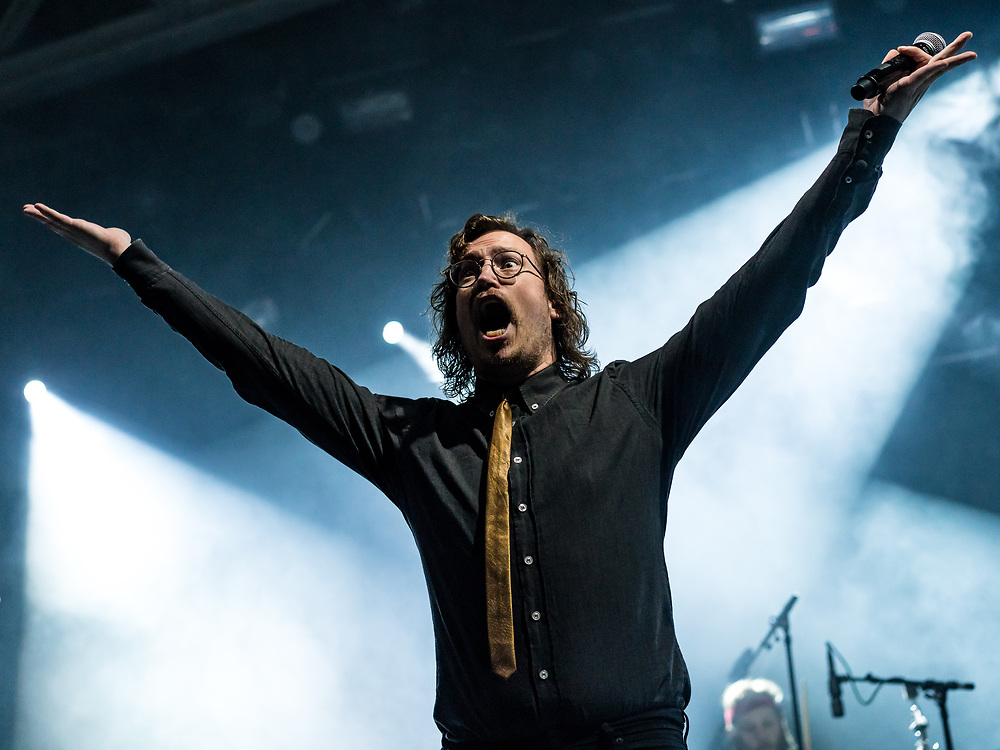 Árni Vilhjálmsson of Icelandic electro-pop band FM Belfast at Iceland Airwaves