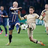 FOOTBALL - CHAMPIONS LEAGUE 2012/2013 PSG VS ZAGREB - 06/11/2012 - CHRISTOPHE JALLET (PARIS SAINT-GERMAIN),  JOSIP PIVARIC (ZAGREB)