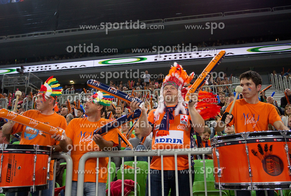 Supporters Indijanci of ACH during volleyball match between ACH Volley LJUBLJANA and Budvanska Rivijera BUDVA.of 2012 CEV Volleyball Champions League, Men, League Round in Pool F, 2nd Leg, on October 26, 2011, in Arena Stozice, Ljubljana, Slovenia.  (Photo by Vid Ponikvar / Sportida)